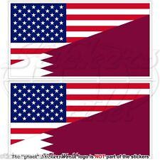USA United States America-QATAR American & Qatari Flag 100mm Stickers Decals x2