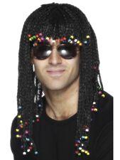 Long Black Jamaican Rasta Wig Adults Braided Hawaiian Fancy Dress Accessory