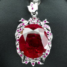 TOP PIGEON BLOOD RED RUBY PENDANT 53.80 CT. 925 STERLING SILVER JEWELRY WOMAN