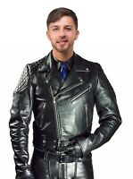 Men's Real Natural Grain Cow Leather Bikers Jacket Quilted Panels Bikers Jacket