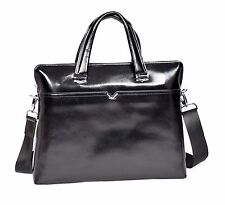 Super Quality Italian Leather BLACK Briefcase Office Bag Messenger Business Bag