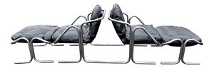 Pair Of Chrome Mid Century Modern Lounge Chair & Ottoman In Black Leather Vinyl