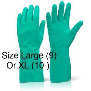 Nitrile Flock Cotton Lined Chemical Solvent Resistant Gauntlet Gloves L Or XL
