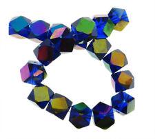 Glasperlen Tschechisch Kristall Würfel 8mm Irisierend Blau Schmuck R68