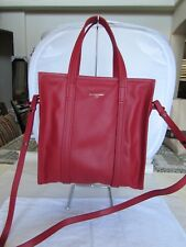 BALENCIAGA BAZAR SHOPPER 443096 SMALL RED LEATHER TOTE BAG 07021104
