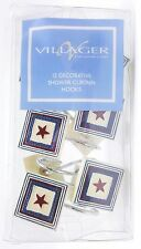 Country Beach Nautical Star Shower Curtain Hooks 12pc Set Liz Claiborne New
