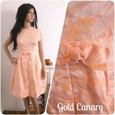 Vintage 1950s 60s Peach Orange Floral Bow Satin Dress Wedding Prom 50s 6 8 34