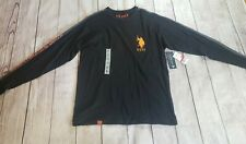 US Polo Assn Style 11394504 Mens Black Orange Logo Long Sleeve Shirt