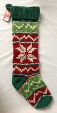 """Vintage Inspired Knit Wool Stocking Green Red Star Handmade in Nepal 24"""" NWT"""