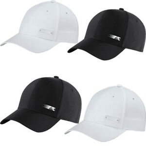 Adidas Mens Baseball Cap Metal Badge Logo Sports Hat Adjustable Cap Black White