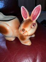 Vintage Bunny Planter Brown Porcelain Rabbit Figurine Ceramic Japan