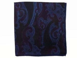 Zegna Pocket Square Muted dark blue & plum paisley, pure silk