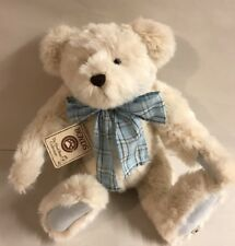 "BOYDS JOINTED 16"" BEIGE TAN PLUSH BEAR ROBIN BEARSLEY BLUE BOW BABY GIFT NEW"