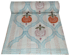 Indian Hand Block Print Kantha Bedspread Blanket Handmade Quilt Throw Twin Gudri