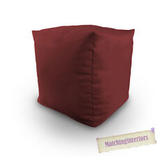 Wine Cotton Filled Bean Bag Cube Foot Stool Pouffe Seat Rest Student Furniture