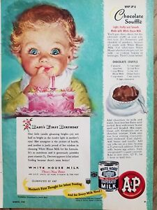 1948 A&P White House evaporated milk redhead pink cake candle Hook art ad