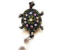 Rhinestone retractable ID badge holder reel - Green Turtle