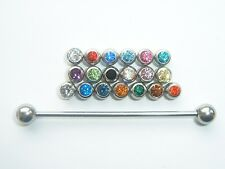 1.6mm x 48mm CRYSTAL JEWELLED STEEL COLLAR TIE PIN STUD BAR 19 COLOUR OPTION