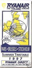 Airline Timetable - Ryanair - Summer 1997 - New Paris Brussels Stockholm - S