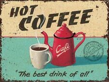 Hot Coffee Retro Vintage Drink Kitchen Cafe Diner Medium Metal Steel Sign