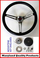 "1966 Chevelle Grant Black Steering Wheel Red/Black Bowtie Center Cap 15"""