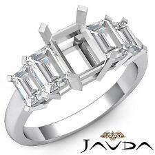 Emerald 5 Stone Stunning Diamond Engagement Ring 14k White Gold Semi Mount 1.5Ct