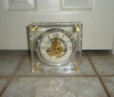 "Seiko Encased Brass Skeleton 7"" Block Lucite Brass Mantel Desk Clock QAW1056"