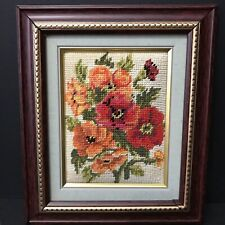 Needlepoint Completed Picture Floral Grandmillennial Framed 8x10