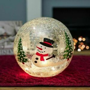 Tabletop Crackle Effect Snowman Ball Battery Operated Xmas Decoration - 20cm
