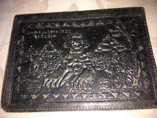 Vintage Fieltro Verde Cartera de Cuero con temas Esfinge egipcia, pirámides Etc
