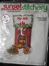 1978 SEALED Sunset Needlepoint *CHRISTMAS FIRESIDE Stocking Kit #2040