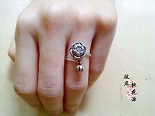 Genuine Handmade Lotus CHARM 925 Sterling Silver Yoga Buddha Adjustable Ring