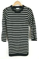 Madewell Stripe Merino Wool Sweater Dress Black White Button sz Medium