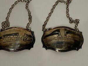 "English sterling silver pr hallmarked wine tags Port & Sherry DP Birm 1.75"" 18gm"