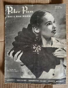 Vintage 1940's Peter Pan Hat and Bag book crochet Patterns Magazine