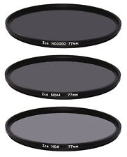 ICE 77mm 3 Filter Set ND1000  ND64  ND8 Neutral Density ND 77 Optical Glass Thin