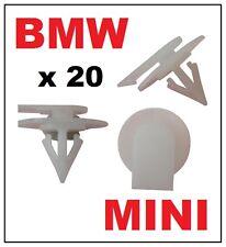 20 x BMW MINI (WHITE) PLASTIC MOULDING TRIM CLIPS FASTENERS