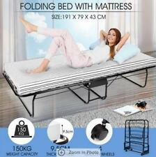 Portable Folding Camping Bed with White 9cm Mattress Indoor/Outdoor -Single