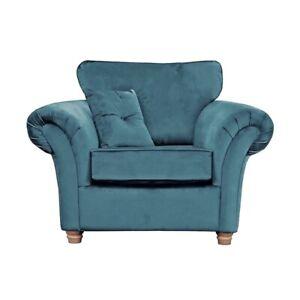 Wayfair Lila Loveseat RRP £659. Teal Plush Velvet Formal-Back Sofa Armchair