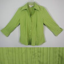 COMO Petite PP Button Down Career Shirt Lime Green Pintuck Shimmery 3/4 Sleeve