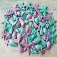66 EDIBLE SUGAR SHELLS MERMAID TAILS TOPPERS DECORATIONS