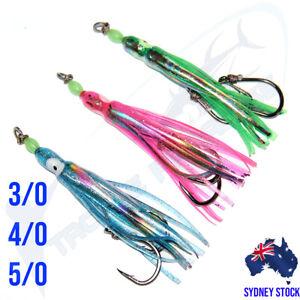 3x Snapper Assist Hooks Squid Skirts 3/0 4/0 5/0 Jig Inchiku Jigging Kingfish