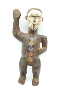 VINTAGE AFRICAN HAND CARVED BAS CONGO STATUE DOLL FIGURINE - 100% GENUINE