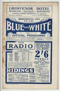 Manchester City V Portsmouth Rare Division One Programme 1935/36