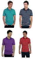 Mens Striped 100% Cotton Polo Shirt ~ Medium - X-Large
