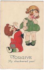 Forgive My Checkered Past Little Boy & Girl  Children GIBSON POSTCARD 1923