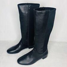 Nine West Boots Womans 8M Black Leather / Textile Boot Side Zipper