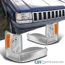For 93-96 Jeep Grand Cherokee Crystal Clear Corner Lights+Bumper Lamps Pair