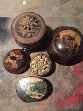Lot x5 bonbonnière boite à bijoux bois peint Lourdes Provence