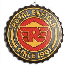 Royal Enfield Motorcycles Metal Retro Bottle Cap Wall Sign - Vintage Bar Garage
